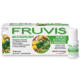 Fruvis Multi-Vegetalfruit Pronto sostegno e memoria, 12 flaconcini monodose pronti da bere