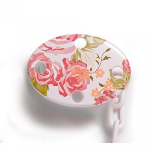 Catenella Porta Ciuccio Suavinex 0+ mesi rosa fiori