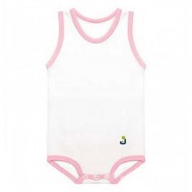 J BIMBI Body neonato in cotone bianco e rosa, 1 pz