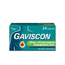 Gaviscon Compresse 250 mg + 133,5 mg, 24 compresse masticabili gusto menta