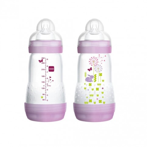 MAM Easy Start, biberon da 260 ml 2+ mesi - Colore rosa