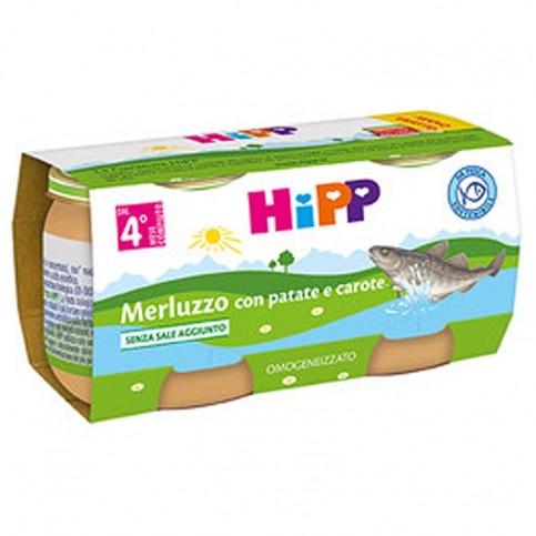 Hipp Omogeneizzato Merluzzo con Carote e Patate, 2 vasetti da 80 gr