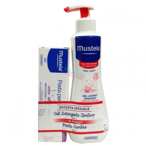 Mustela Gel Detergente Lenitivo 300 ml, in omaggio Pasta Cambio 50 ml