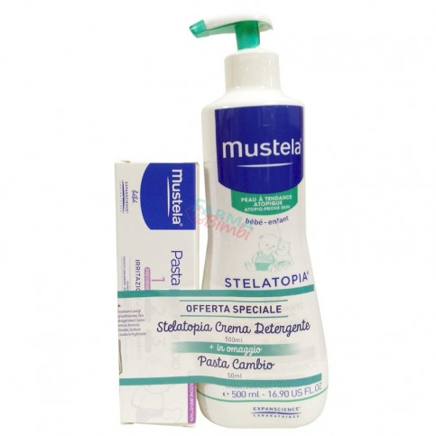Mustela Stelatopia Crema Detergente 500 ml, in omaggio Pasta Cambio 50 ml