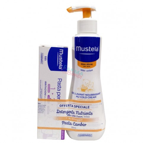 Mustela Detergente Nutriente Cold Cream 300 ml, in omaggio Pasta Cambio 50 ml