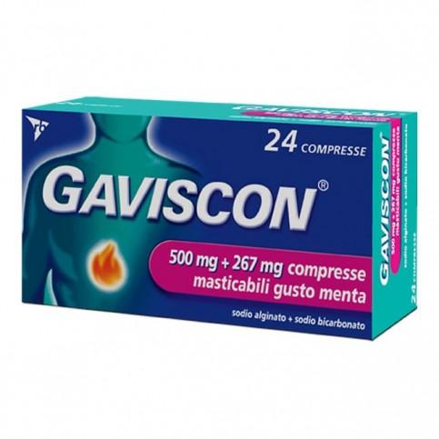 Gaviscon Compresse 250 mg + 267 mg, 24 compresse masticabili gusto menta