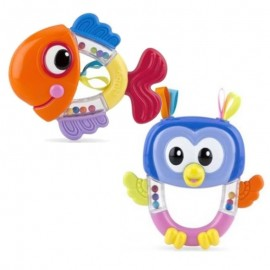 Nuby Sonaglino Massaggia Gengive - Gufo o Pesce - 3m+ Rattle Pals