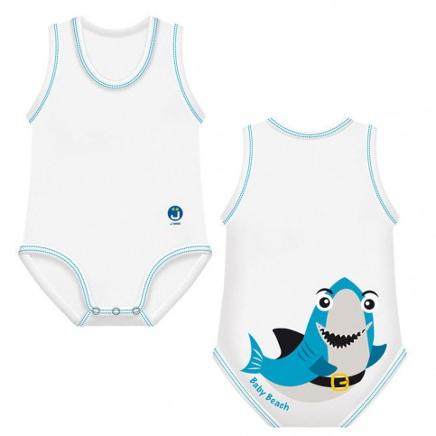 J BIMBI Body estivo neonato in cotone biologico Beach Collection Squalo, 1 pz