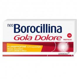 NeoBorocillina Gola Dolore Limone Miele senza zucchero, 16 pastiglie