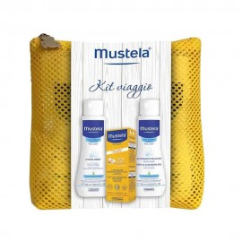 Mustela Kit Solare Viaggio, Latte Solare SPF 50+, Dermodetergente e Latte Corpo