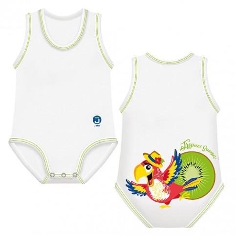 J Bimbi Body estivo neonato in cotone biologico Tropical Summer Pappagallo Verde, 1 pz