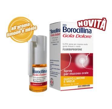 NeoBorocillina Gola Dolore Spray gusto Limone e Miele, flacone da 15 ml