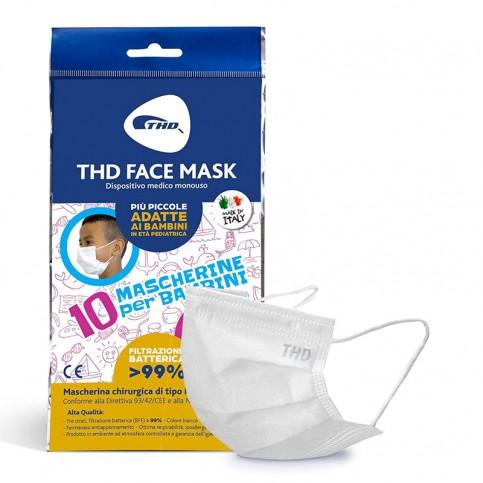 THD Mascherina per Bambini Made in Italy, Taglia Piccola 9,5 x 14,5 cm, confezione da 10 mascherine
