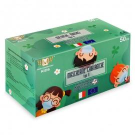 Mascherine per Bambini Made Italy Dispositivo Medico Classe I Tipo II, confezione da 50 pz