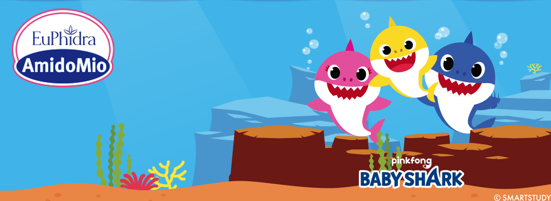 Pinkfong Baby Shark in esclusiva europea per AmidoMio. I divertenti spruzzini subito in regalo con i nuovi detergenti per bambini.