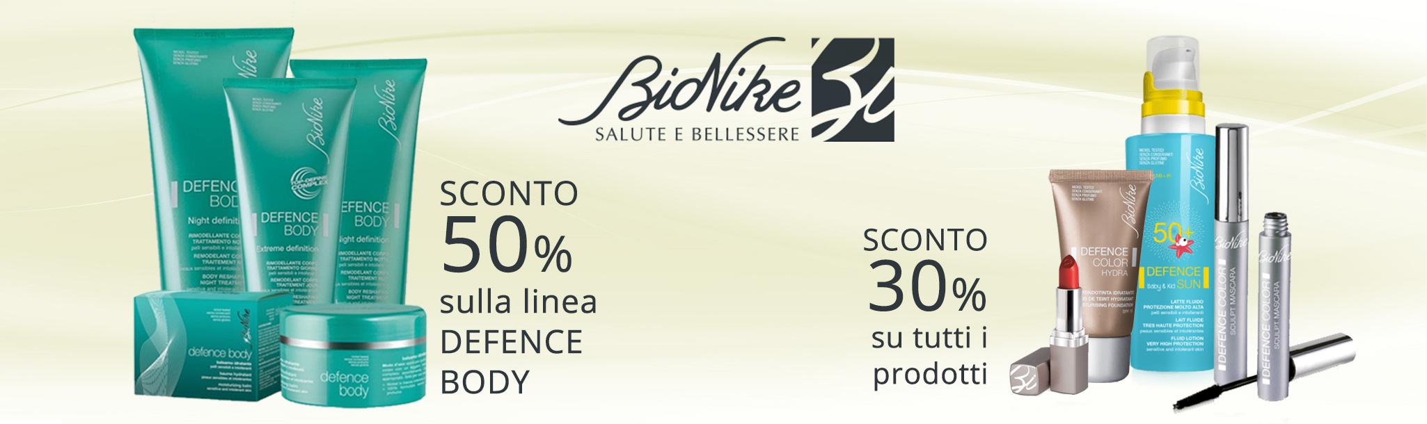 Sconto 50% sulla linea Defence Body e Sconto 30% su tutti i prodotti Bionike.