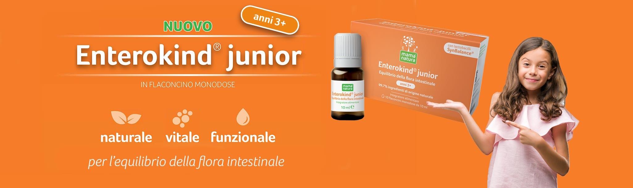 Mama Natura Enterokind Junior il nuovo flaconcino, per l'equilibrio della flora intestinale nei bambini dai 3 ai 12 anni