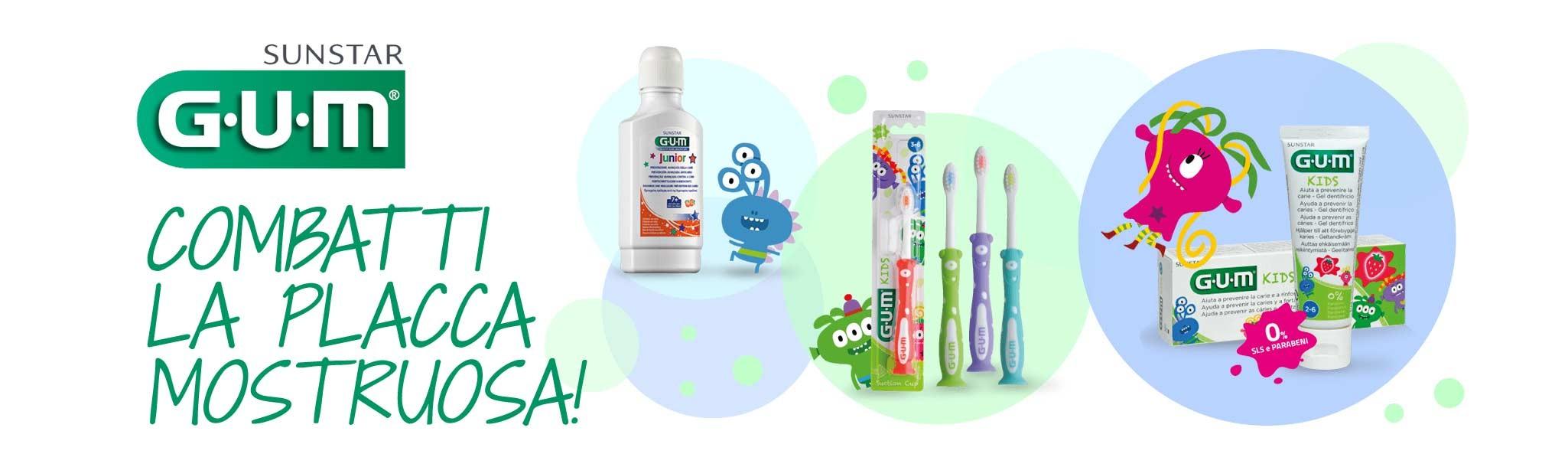 combatti la placca e le carie con i prodotti gum specifici per i bambini