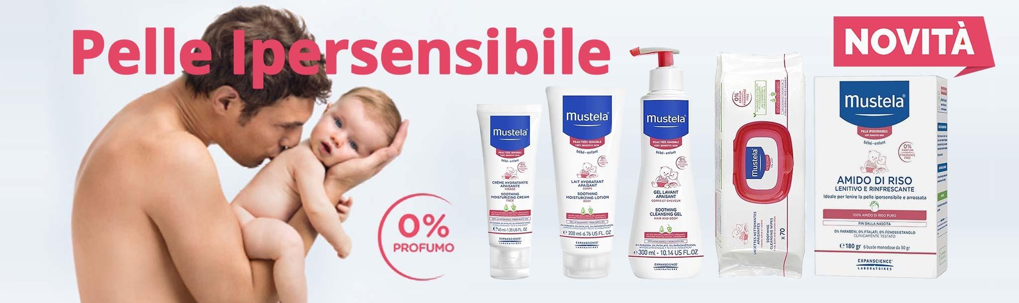 Prima linea completa di trattamento e igiene, senza profumo concepita per lenire la pelle ipersensibile di neonati e bambini fin dalla nascita