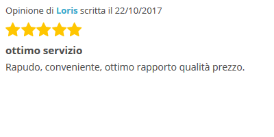 ottimo servizio Rapido, conveniente, ottimo rapporto qualità prezzo.